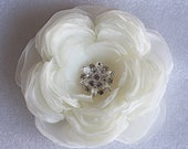 Large ivory wedding hair flower with rhinestone -wedding hair accessories - ivory bridal hair clip