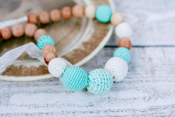 Crochet organic cotton Nursing necklace romantic teething necklace with vintage lace in mint green and milk white