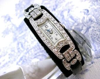 Art Deco Diamond Platinum Watch Cocktail 1940s 2.5cts