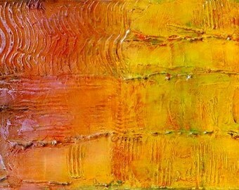 """Mixed Medium Wall Art, Abstract Acrylic Painting on Canvas by Sarah Ettinger, Size 12"""" x 36"""""""