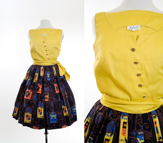 vintage 50s circle skirt and blouse // 1950's mustard top and skirt outfit