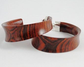 Wood and Silver  Earrings No.121103 - Cocobolo