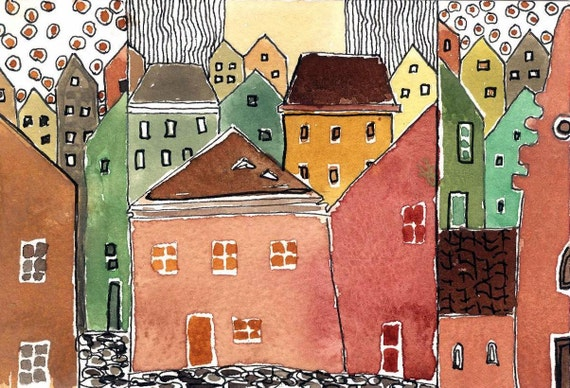"Watercolor Painting."" Village Houses Under A Hot Sun."" Affordable Art.Original Painting."