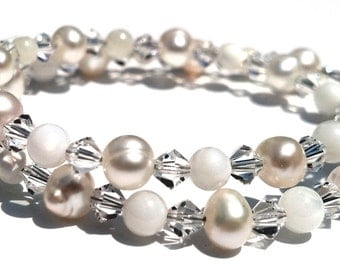White Wedding Anklet, Honeymoon, Swarovski, Mother of Pearl and Freshwater Pearl