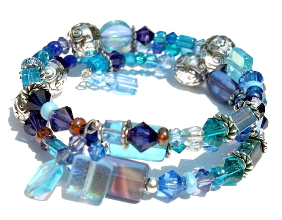 Blue and Silver Memory Wire Bracelet, Swarovski Cuff Jewelry, Chunky Bracelet, Blue Glass and Swarovski