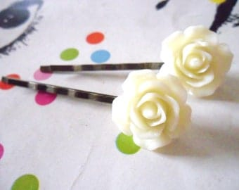Rose Bobby Pins in Lemon Cream and Antique Bronze   -  vintage style hair clips slides pins rockabilly flower