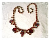 Red Rhinestone Necklace - Irridescent Ruby 1950's Prom Bling  1712ag-012312000