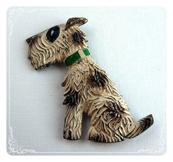 Scottie Dog Brooch  - White w Black Spots 1105ag-012312000