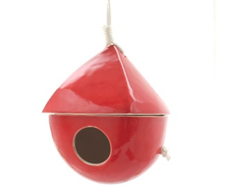 Fire Engine Red Porcelain Birdhouse