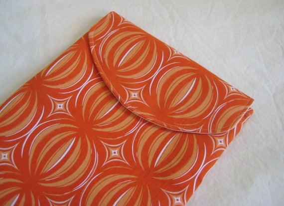 iPad Sleeve, iPad Case, iPad Cover, Padded with Flap, in modern Orange Print
