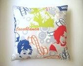 "Hollywood Actors and Actress Print Pillow Cover - Audrey Hepburn, Humphrey Bogart, Elizabeth Taylor Print on it - 18x18"" - Ready to Ship"