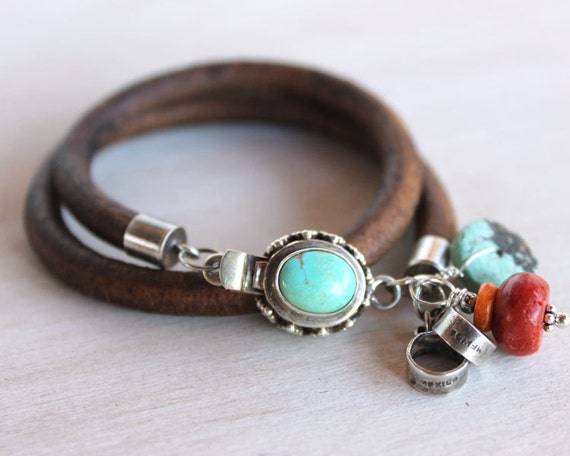 """Turquoise silver bracelet - """"Rebel"""" Turquoise, coral, silver and leather  artisan bracelet"""