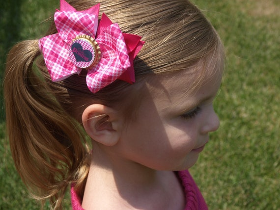 pink bottlecap hair bow- pink plaid bow- Daddy's Princess