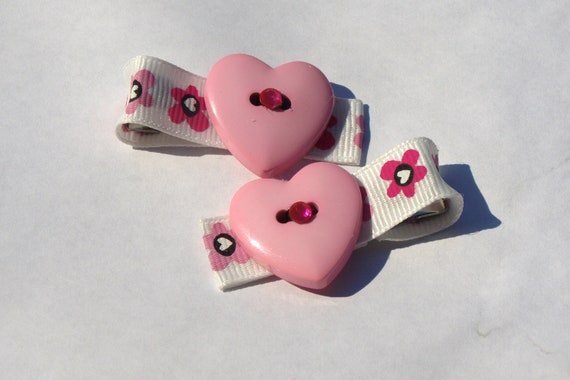pink heart clippies- hair clips for girls, accessories
