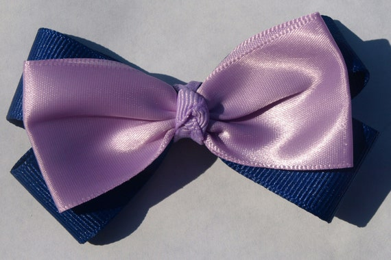 lavender and blue hair bow- purple accessories- gifts for girls