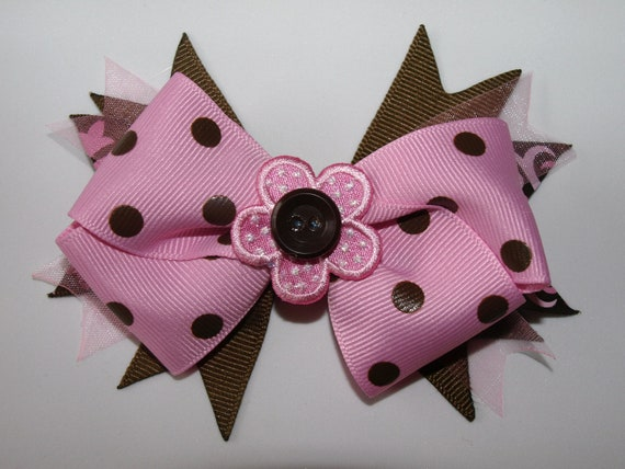 pink and brown polka dot flower bow- flower hair clip- girls accessories