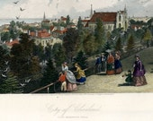 CLEVELAND, Ohio Historic Antique Hand Colored Steel Engraving 1872 Appleton in GORGEOUS Condition