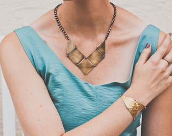 SALE The Florus, Brass Square and Triangle V Necklace, Short Necklace, Statement Necklace,
