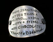 Friends with Chocoloate upcycled leather cuff-hand stamped silverware jewelry