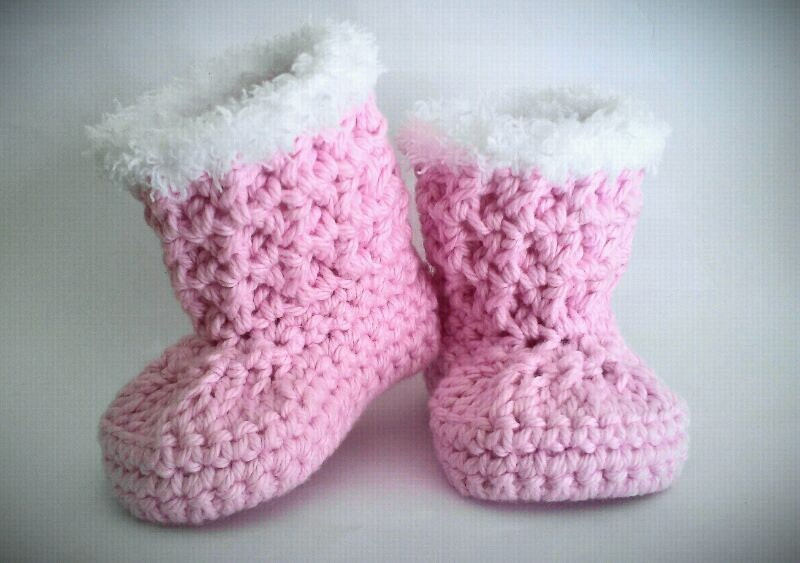 Crochet Patterns For Baby Girl Dresses : Crochet Baby Boots Pink Baby Girl Boots Baby Girl Booties