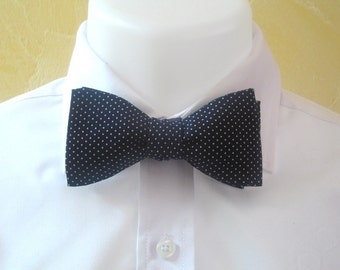 Mens Bowtie - Navy blue with white pin dots  - freestyle - self tie