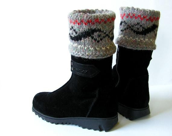 SALE of 40% Hand knitted  wool Women Boot cuffs Leg Warmers Folksy ornament Grey Black Orange White