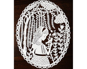 Original Papercut - Girl in the Willows - Handcut Paper Illustration - 8x10