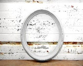 Ornate White Oval - Rustic Shabby Chic Distressed Antique White Frame - Gallery Mantle Wall Wedding Decor Romantic Cottage