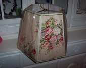 Shabby designer fabric pink roses lampshade/One of a kind