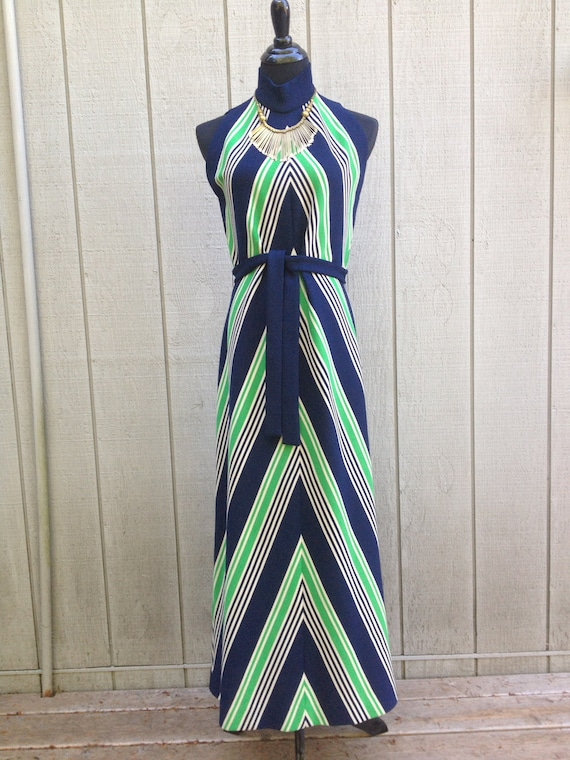 Vintage 60s 70s Chevron Stripe Knit Maxi Dress w/ Self-Tie