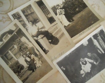 1910s-30s Young Couples Antique Photo Black and White Lot No.4