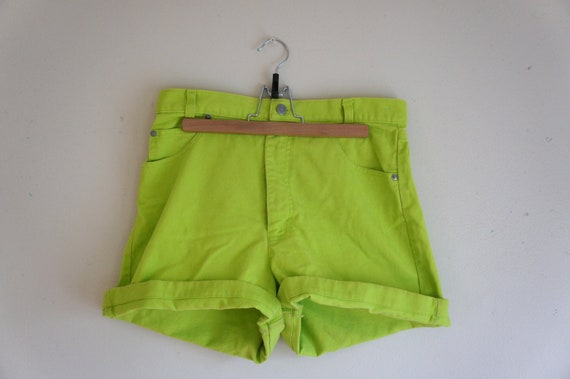 high waisted denim shorts // neon green size medium/large