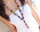 Brown Glass Bead Necklace, Brown Long Necklace, Womens Fashion Jewelry, Stylish Design, OOAK Jewelry, Mother'S Day Gift