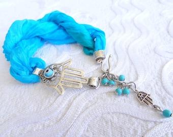 Hamsa-Hand of Fatima Bracelet,Turquoise Silk Bracelet,Evil Eye Bracelet,Turkish Jewelry,Protection Bracelet,Gift for Her,Mother's Day Gifts