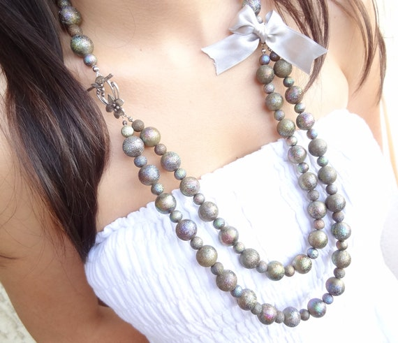 Gray Bead Necklace-Two Row Bead Necklace
