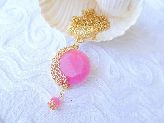 RESERVED Patricia Fuchsia Jade Stone Necklace- Gold Plated Necklace- Jade Stone-Frame Necklace