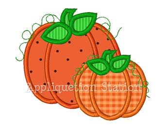 Pumpkin Duo Applique Machine Embroidery Design orange thanksgiving 2 pumpkins INSTANT DOWNLOAD