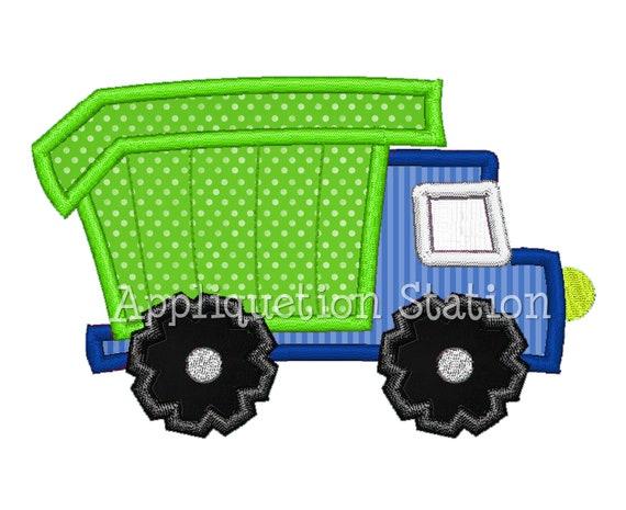 Dump Truck Applique Machine Embroidery Design blue green boy construction vehicle car INSTANT DOWNLOAD