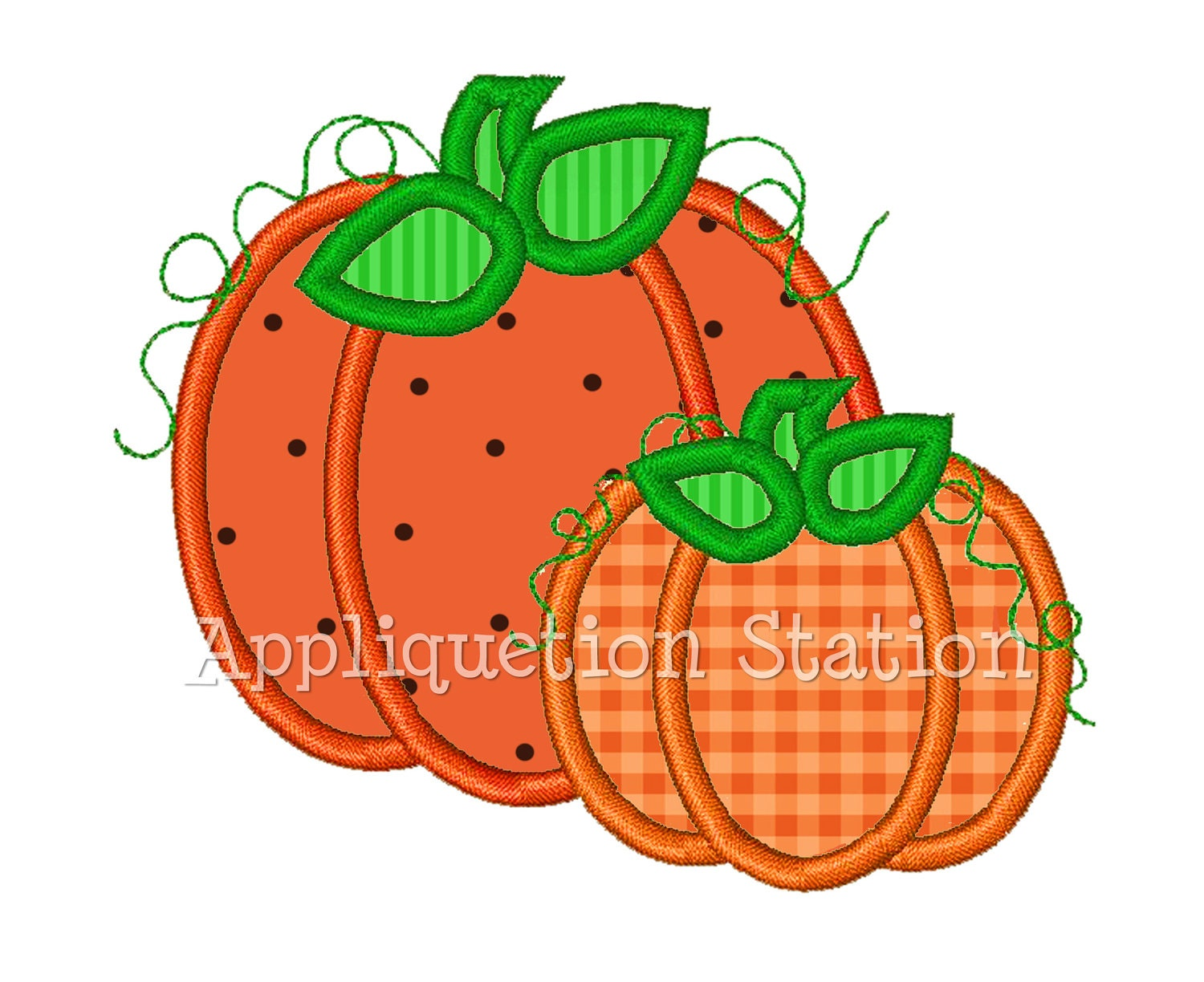 Pumpkin duo applique machine embroidery design orange