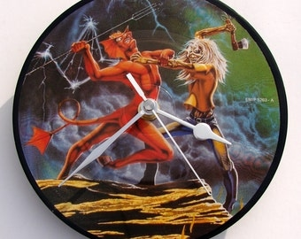 """IRON MAIDEN Vinyl Record Clock. A recycled original 7"""" picture disc. Boxed. By Vinyl Time. Run To The Hills...."""