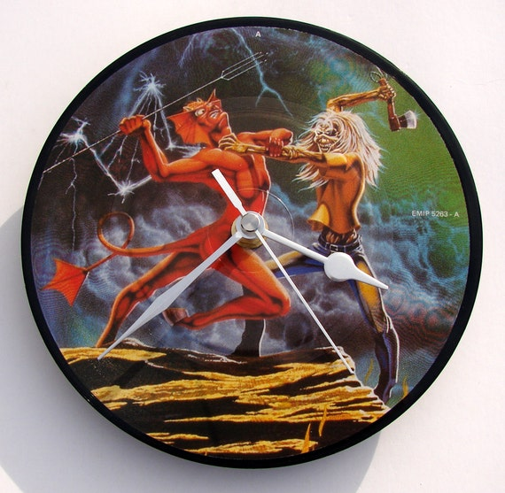 "IRON MAIDEN Vinyl Record Clock. A recycled original 7"" picture disc. Boxed. By Vinyl Time. Run To The Hills...."