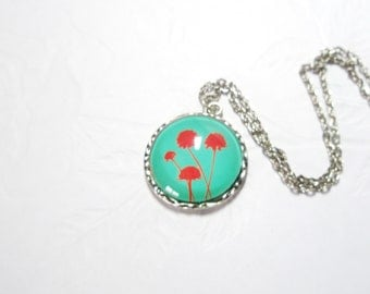 Green Red Botanical Plant  Wild Flower Seed Head Round Resin Pendant -  free gift