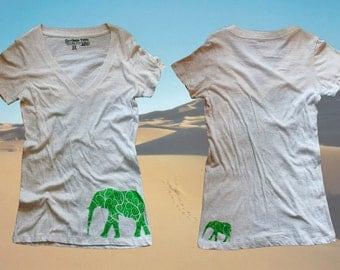 Elephant Family Deep V Neck T shirt Woman's Girls Sizes Sm-XL