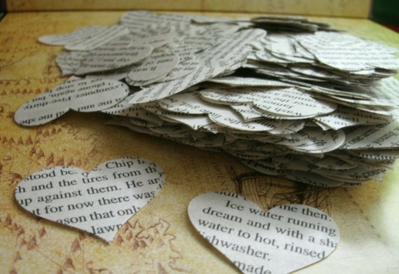 500 paper hearts wedding table confetti english pages hearts 500 pieces heart punches from a novel