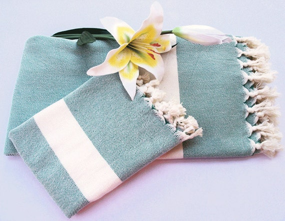Set 2 Turkish Bath Towel(Peshtemal) &Turkish Hand Towel (Peshkir) -Hand Woven Turkish Soft Towel Natural Cream and soft green Pure Cotton
