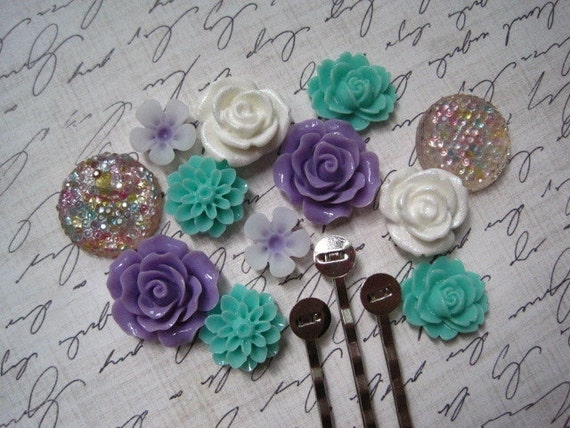 Resin Cabochon Kit with Bobby Pins... 24 pc Mixed Lot Cabochon Flowers in Purple, Aqua, White