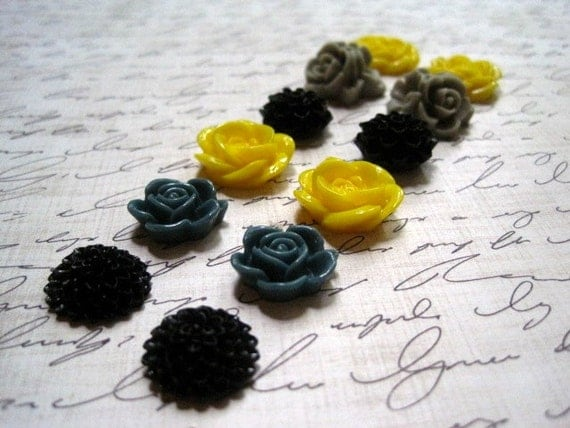 Resin Cabochon Flowers... 12 pc Resin Rose Dahlia in Black, Yellow, Gray ... Perfect for Rings, Bobby Pins and Earrings