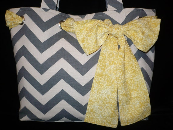 Large GRAY CANVAS CHEVRON Tote Bag Purse with Yellow Bow, Handmade Shoulder bag