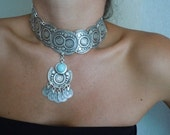 Ottoman Design Metal Necklace With Turquoise Stone2-Red-Fashion Jewelry-2012 Trends-Fashion All Season