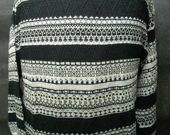 FIUME of ITALY black or white cotton/linen crew neck long sleeve sweater-new with tags 1983
